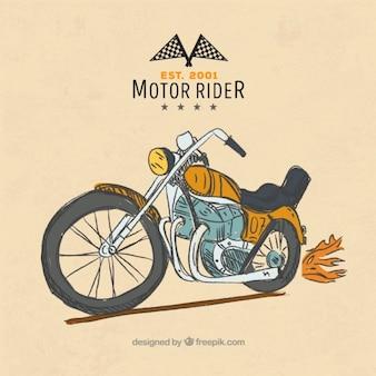 Met de hand getekende vintage motorfiets achtergrond