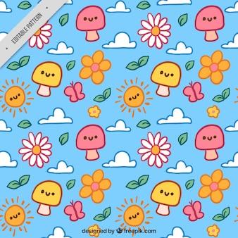 Met de hand getekende voorjaar patroon met bloemen en champignons