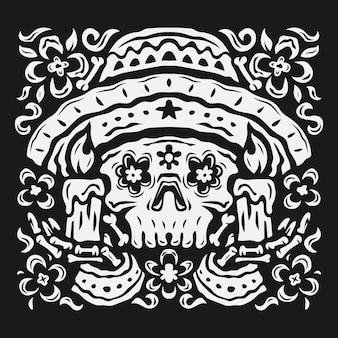 Met de hand getekende zwart-witte da de muertos-achtergrond in plat ontwerp