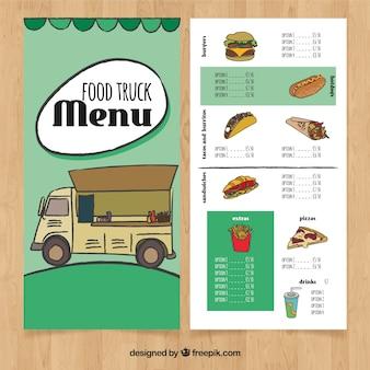 Met de hand getrokken voedsel truck menu met fastfood