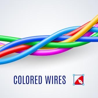 Met elkaar verweven plastic draden of kabels in verschillende kleuren