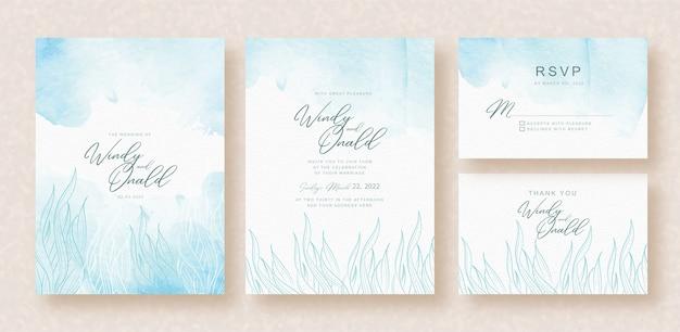 Met gras begroeide blauwe vector op uitnodigingskaartsjabloon