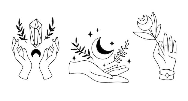 Met handen en mystieke boho maan cliparts hemelse magische lijn heksen esoterische objecten