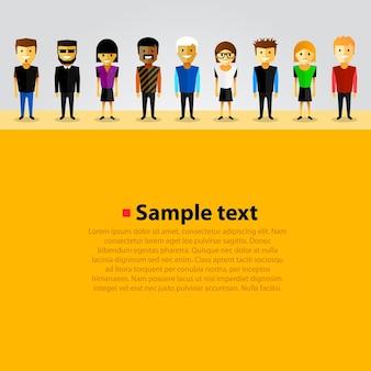 Met happy cartoon mensen kunst. vector illustratie
