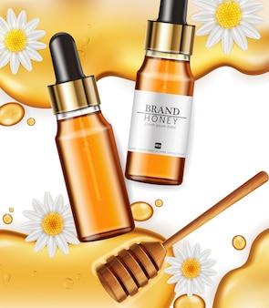 Met honing doordrenkte serumflessen