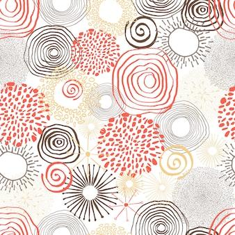 Met inkt besmeurde gekleurde cirkels in naadloos patroon.