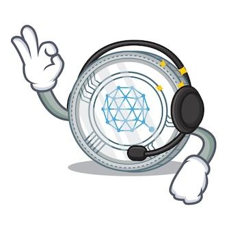 Met koptelefoon qtum coin character cartoon
