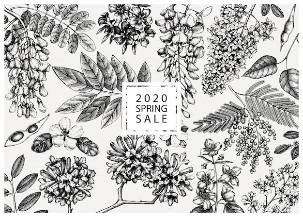 Met lentebomen in bloemenillustraties. hand getekend bloeiende plant achtergrond. vector bloem, blad, tak, boom schetst sjabloon. lente kaart of wenskaart.