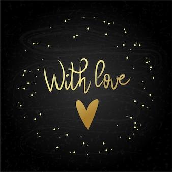 Met liefde tekst en hart geïsoleerd op wit vector illustratie voor flyers uitnodiging posters