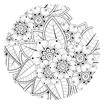 Met omtrek rond bloemenpatroon in mehndi-stijl voor het kleuren van de doodle sieraad van de boekpagina in zwart-wit hand tekenen illustratie