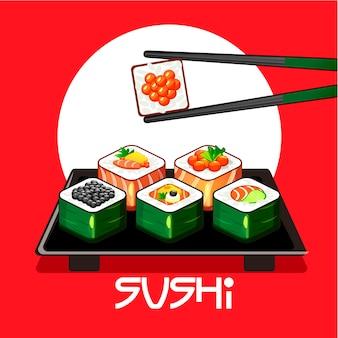 Met sushibroodjes en eetstokjes op een bord