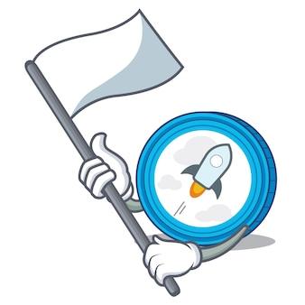 Met vlag stellaire munt karakter cartoon