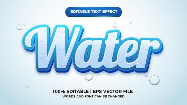 Met water bewerkbare stijlsjabloon voor teksteffect