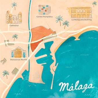 Met waterverf geschilderde kaart van malaga