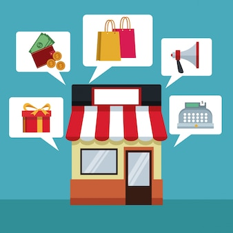 Met winkel en dialoogvenster met elementen online winkelen