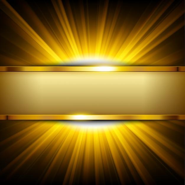 Metaal gouden banner met tekstruimte op geel licht