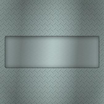 Metaalachtergrond van de textuur van de loopvlakplaat met hiaat en staal geweven plaat voor uw tekst.