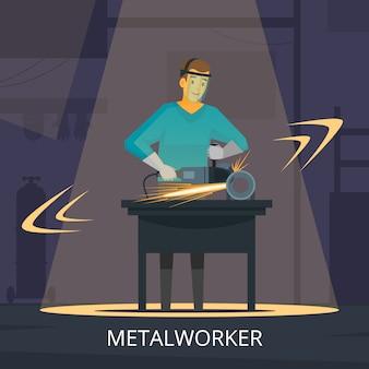 Metaalbewerker productieproces voor het vormen van snijden en polijsten metalen werkplaats