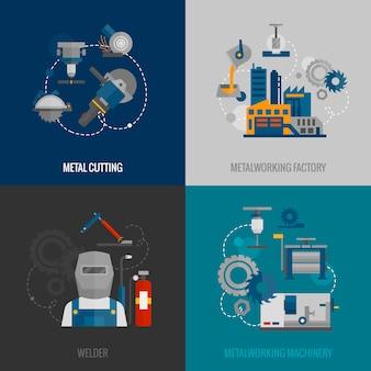 Metaalbewerking fabriek plat pictogrammen
