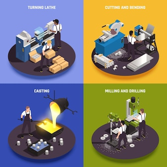 Metaalbewerkingsbewerkingen 4 isometrische composities met draaiende draaibank, gietarbeiders, snijden, buigen, frezen, boormachines, illustratie