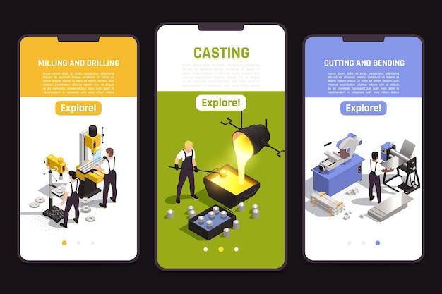 Metaalbewerkingsoperaties mobiele schermen set