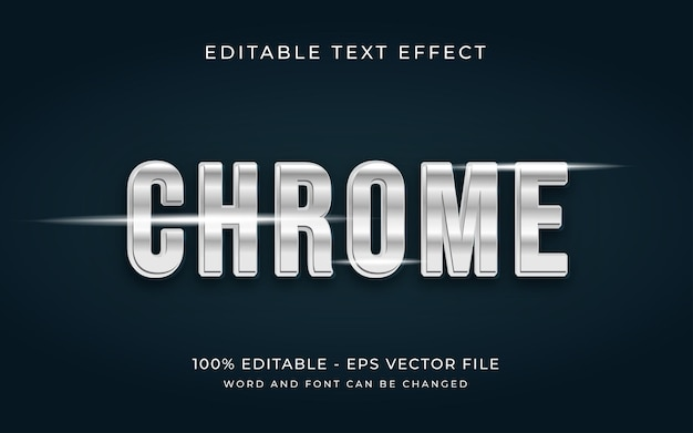 Metaalchroom 3d-teksteffectstijl bewerkbaar teksteffect