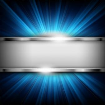 Metaalchroombanner met tekstruimte op blauw licht