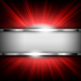 Metaalchroombanner met tekstruimte op rood licht