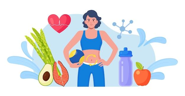 Metabolisme van het menselijk organisme. metabolisch proces van sportvrouw op dieet. spijsverteringsstelsel, biochemie, hormoonstelsel. chemische reacties van voeding bij de synthese van organismen