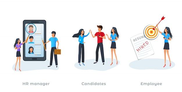 Metafoor concept van human resources management en werkgelegenheidsproces.