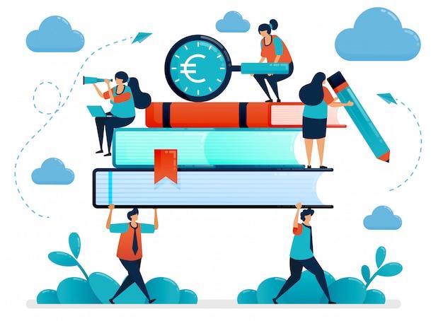 Metaforen van de last van de opleidingskosten. studenten dragen zware boeken. op zoek naar onderwijsfinanciering. gratis schoolbeursprogramma.