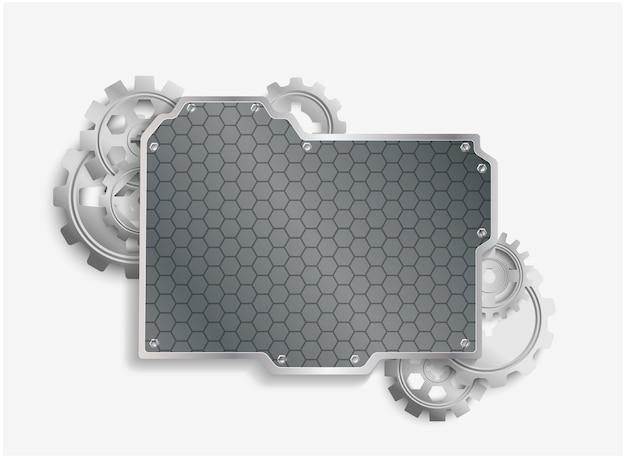 Metal cogs-wielen met staalachtergrond