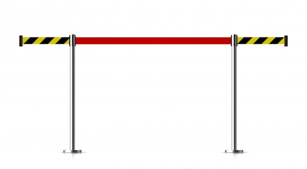 Metalen barrière met een riem om te controleren.