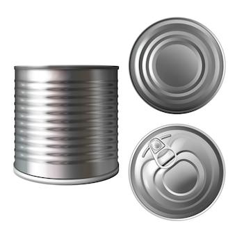 Metalen blik of blik illustratie van 3d-realistische container voor conserven van voedsel of conserven.
