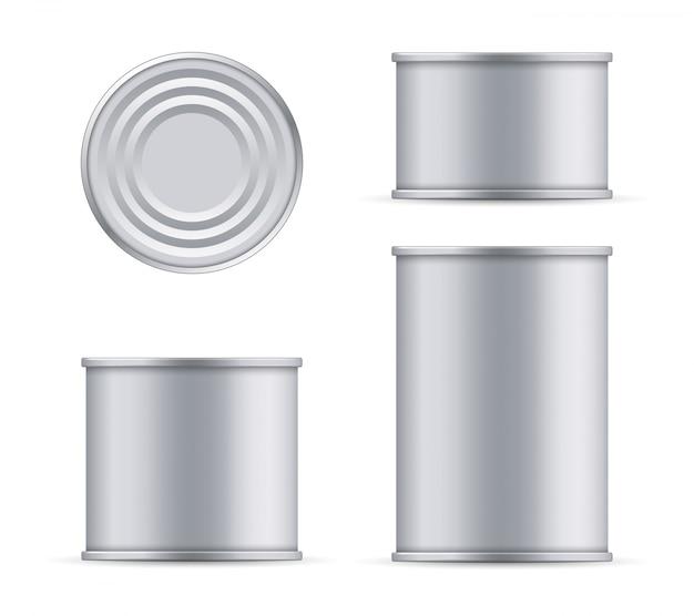 Metalen blikje tonijn boven- en vooraanzicht sjabloon.
