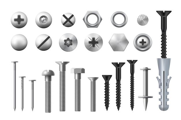 Metalen bouten, schroeven, moeren en spijkers. realistische vector metalen bevestigingsmiddelen en klinknagels, houtwerk en metaalbewerkingsapparatuur, ringen en zelftappende of draadsnijdende schroeven