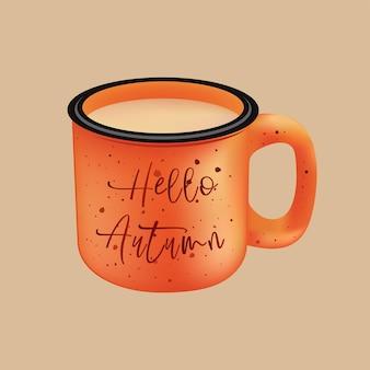 Metalen campingmok met koffie en het opschrift hello autumn