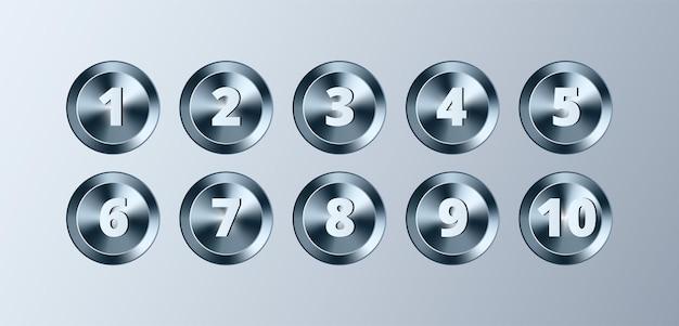 Metalen cirkel knoppen met nummers set vector chrome metallic getextureerde zilveren badges glanzende elementen