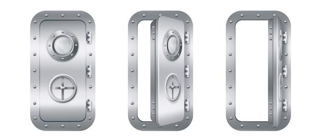 Metalen deur met patrijspoort in onderzeeër