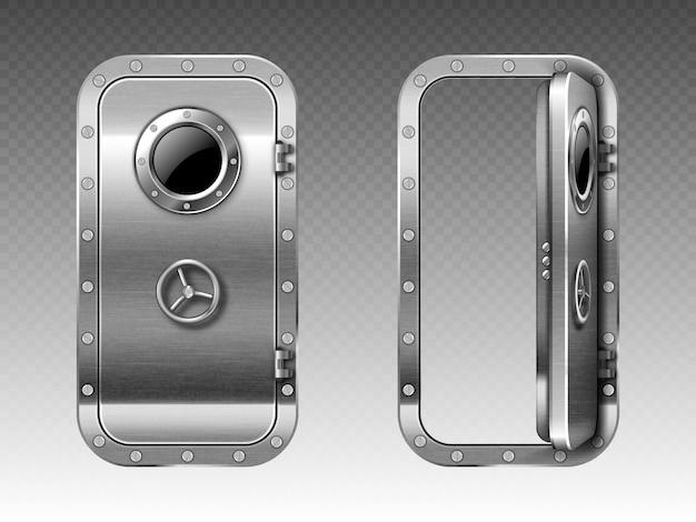 Metalen deur met patrijspoort, onderzeeër of bunker