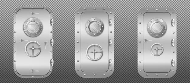 Metalen deur met patrijspoortvenster