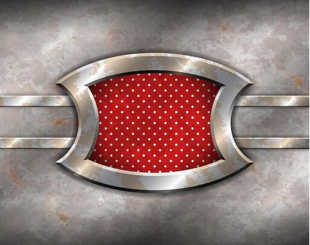 Metalen frame met polka dot achtergrond