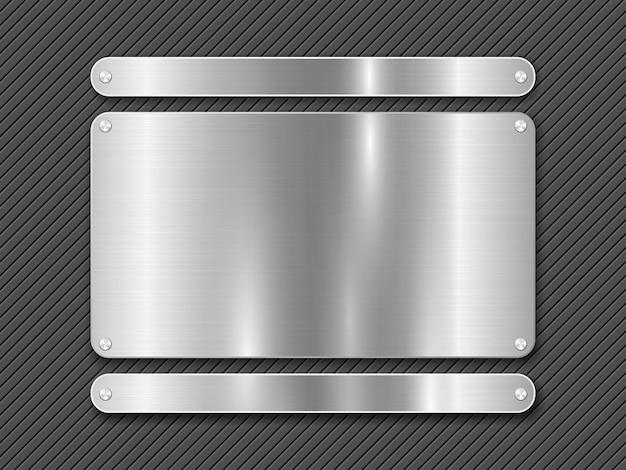 Metalen gestreepte lijnachtergrond en gepolijste stalen plaat bevestigd met schroeven