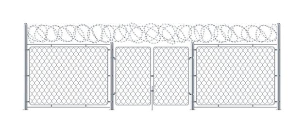 Metalen hek met poort of kettingschakelmuur met loopdeur en prikkeldraad militaire of legerconstructie