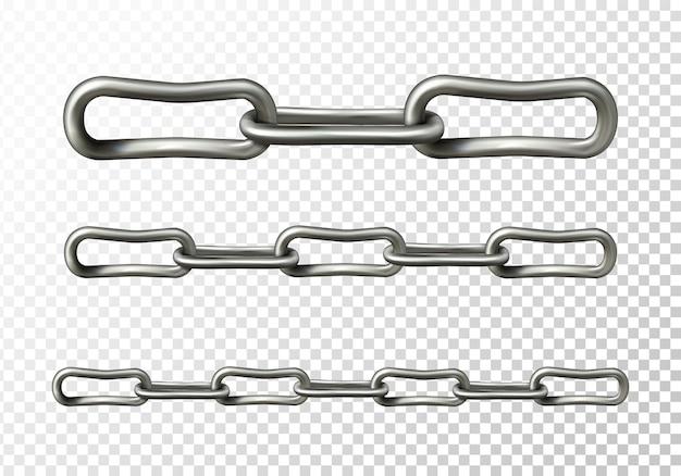 Metalen kettingillustratie van realistische 3d metalen of zilveren kettingschakels
