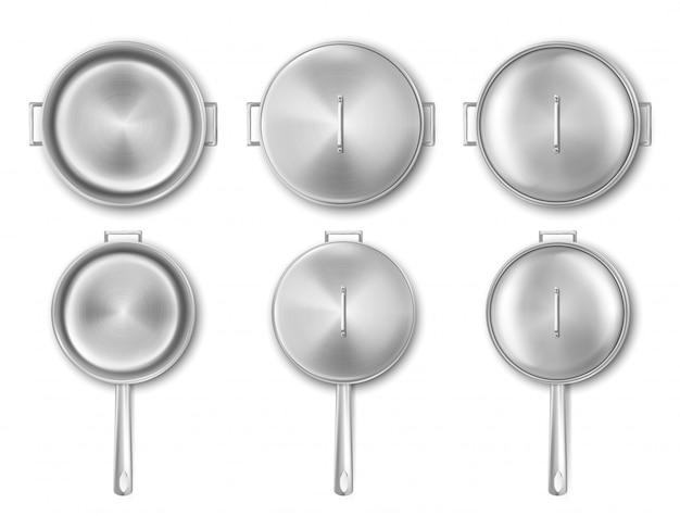 Metalen kookpot en koekenpan met deksel bovenaanzicht