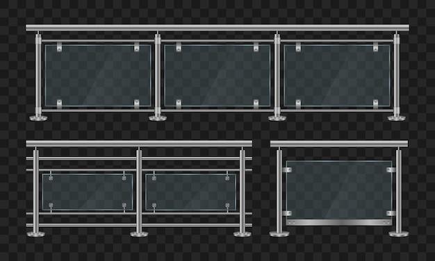 Metalen leuningen. glazen balustrade met ijzeren leuning voorzijde en hoekaanzicht. doorsnede van glazen hekken met metalen buisleuning en transparante platen voor thuistrappen