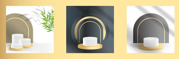 Metalen luxe podiumpodium of platform voor geïsoleerde productweergave sjabloon 3d mockup