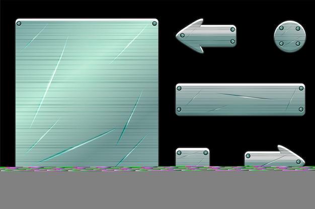 Metalen oude gebruikersinterface en spelknoppen. vectorillustratie van spel menu venstersjabloon met scheuren.