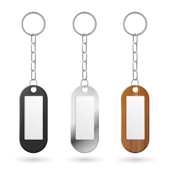 Metalen, plastic en houten sleutelhangers